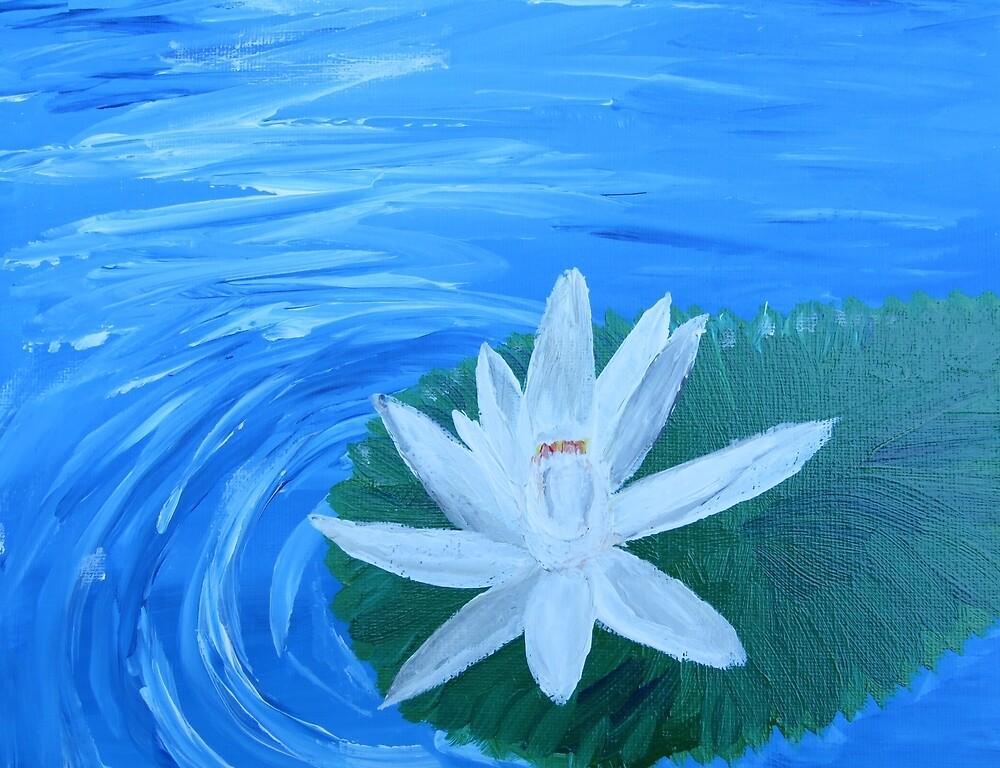 Serene Painted White Lotus by lasgalenarts