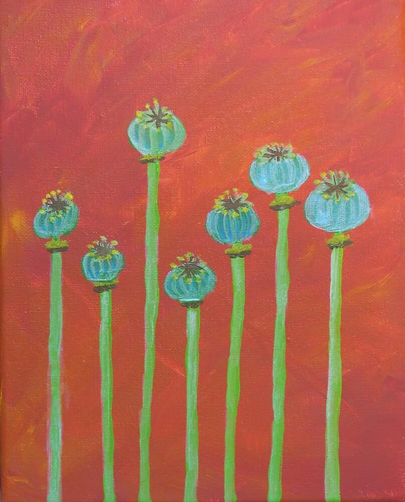 Seven Poppy Seed Pods by lasgalenarts