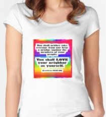 Love Your Neighbor As Your Self -Leviticus, Rainbo Women's Fitted Scoop T-Shirt