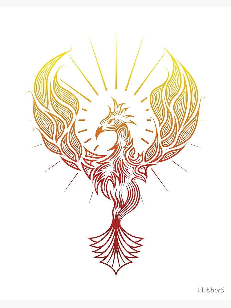 Phoenix Bird Rising Tatouage Tribal Impression Rigide