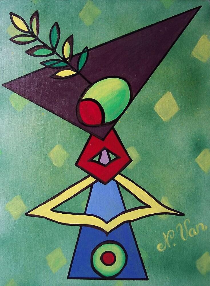 Retro Funky Green Martini by Nathalie Van