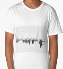 Bastogne Soldiers Marching in the Snow Long T-Shirt