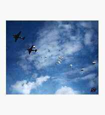 101st Airborne practice jump - Holland, WWII Photographic Print