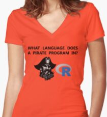 R data pirate Women's Fitted V-Neck T-Shirt
