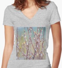 Late Frost on Spring Buds Women's Fitted V-Neck T-Shirt