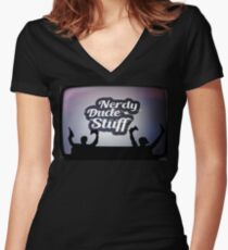 Nerdy Dude Stuff Main logo Women's Fitted V-Neck T-Shirt