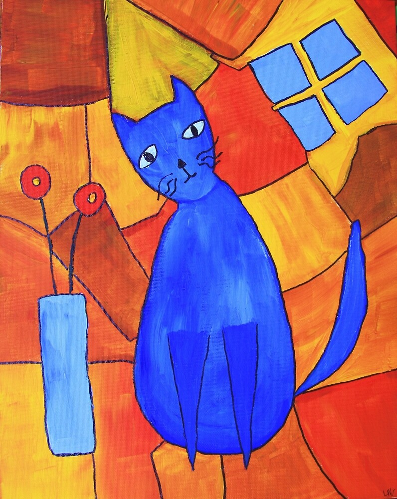 Whimsical Blue Cat And Red Poppies by lasgalenarts