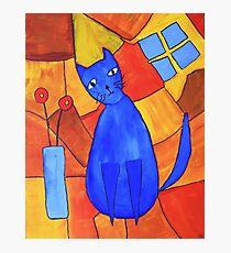 Whimsical Blue Cat And Red Poppies Photographic Print