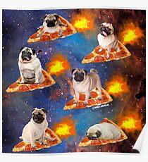 Pugs in der Raum-Reitpizza Poster
