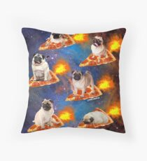 Pugs in Space Riding Pizza Throw Pillow