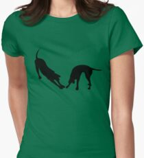 STRETCHING DOGS Womens Fitted T-Shirt