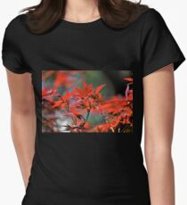 Red Japanese Maple Leaves  Womens Fitted T-Shirt