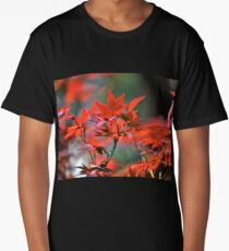 Red Japanese Maple Leaves  Long T-Shirt