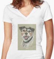 Terrier portrait Women's Fitted V-Neck T-Shirt