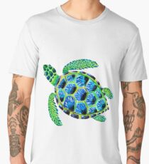 Psychedelic sea turtle in acrylic Men's Premium T-Shirt