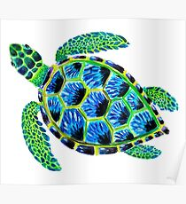 Psychedelic sea turtle in acrylic Poster