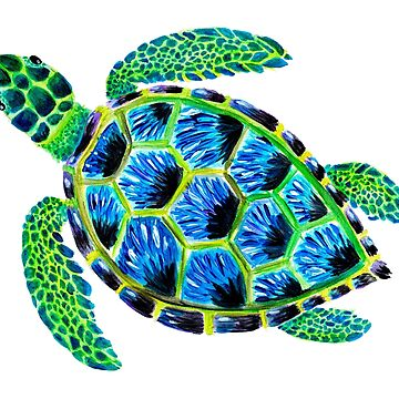 Psychedelic sea turtle in acrylic by narwhalwall