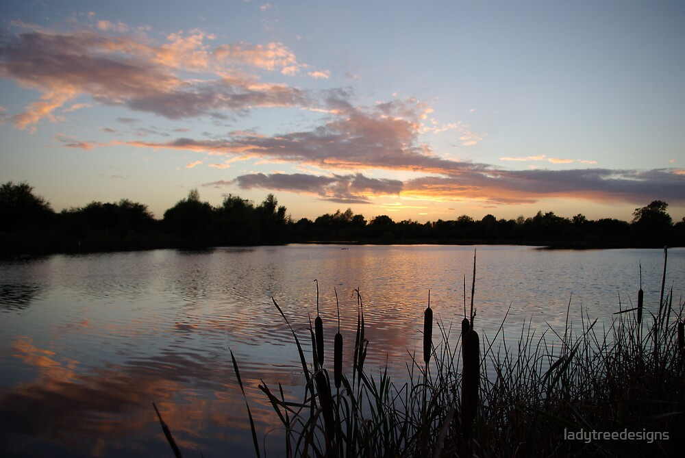 sunset over spinney lake by ladytreedesigns