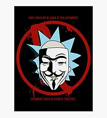 Rick for Vendetta - Rick and Morty and V for Vendetta Crossover Photographic Print