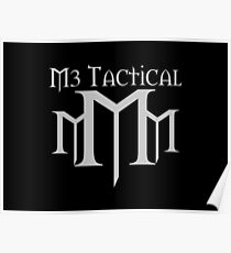 M3 Tactical With Words Over Logo Medium Grey on Black Poster
