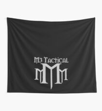 M3 Tactical With Words Over Logo Medium Grey on Black Wall Tapestry