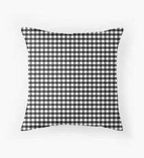 Black White Gingham Check Pattern Throw Pillow