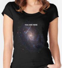 Camiseta entallada de cuello redondo Tú estás aquí Universo Galaxy