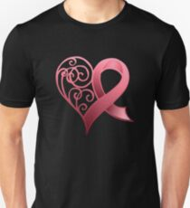 Pink Awareness Ribbon in Heart Unisex T-Shirt