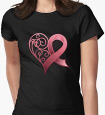 Pink Awareness Ribbon in Heart Womens Fitted T-Shirt