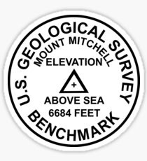 Mount Mitchell, North Carolina USGS Style Benchmark Sticker