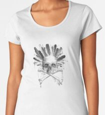 Tribal style Gothic skull - Cross bones and Graphic Products Women's Premium T-Shirt