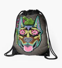Doberman - Cropped Ear Edition - Day of the Dead Sugar Skull Dog Drawstring Bag