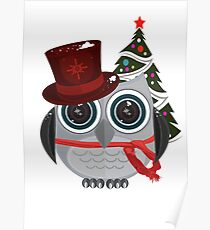 Top Hat Owl - Snow Poster