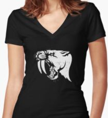 saber tooth cat stencil Women's Fitted V-Neck T-Shirt