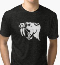 saber tooth cat stencil Tri-blend T-Shirt
