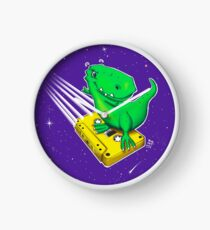 Surfing old school – Horst the T-Rex in space Clock