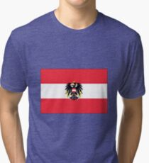 Austrian flag with Coat of Arms Tri-blend T-Shirt