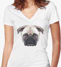 Pug Women's Fitted V-Neck T-Shirt
