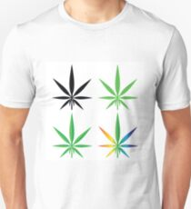 colorful illustration with cannabis leaves on white background Unisex T-Shirt