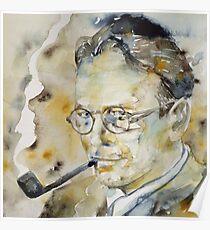 RAYMOND CHANDLER - watercolor portrait.2 Poster