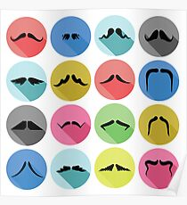 mustaches icons Poster