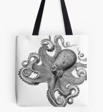 Black and White Octopus Illustration Tote Bag