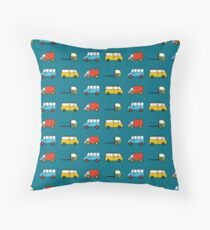 Turquoise, Red and Yellow Trucks Throw Pillow