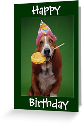 Basset hound birthday lollipop greeting cards by blackstargirl basset hound birthday lollipop by blackstargirl bookmarktalkfo Gallery