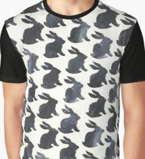 Black Chalkboard Rabbit Pattern Graphic T-Shirt