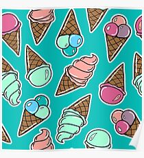 Seamless pattern with sweet icecreams in comic style. Poster