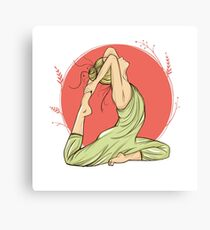 beautiful woman in yoga pose on a round background, hand-drawn Canvas Print