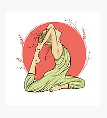 beautiful woman in yoga pose on a round background, hand-drawn Photographic Print