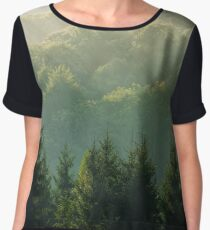 spruce forest on foggy sunrise in mountains Chiffon Top