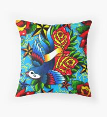 Traditional Swallow & Rose Tattoo Throw Pillow